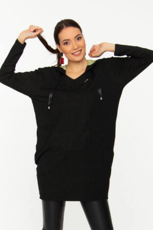 Milla kapucnis tunika - Kéttónusú futter anyag fekete/belül kiwi