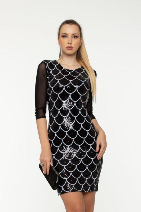 Miranda sokpántos ruha  - Fekete flitter/fehér mintás