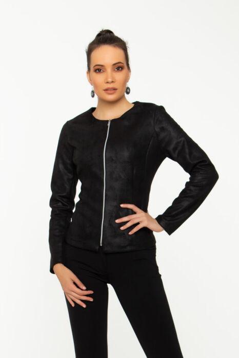 Rita kabátka - fekete, bőrhatású