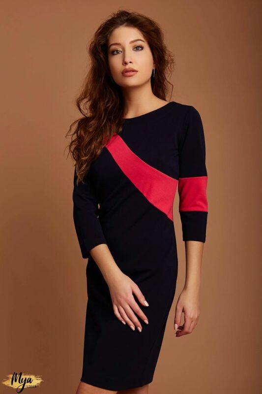 3/4-es ujjú, hullámdíszítésű ruha - fekete/pink