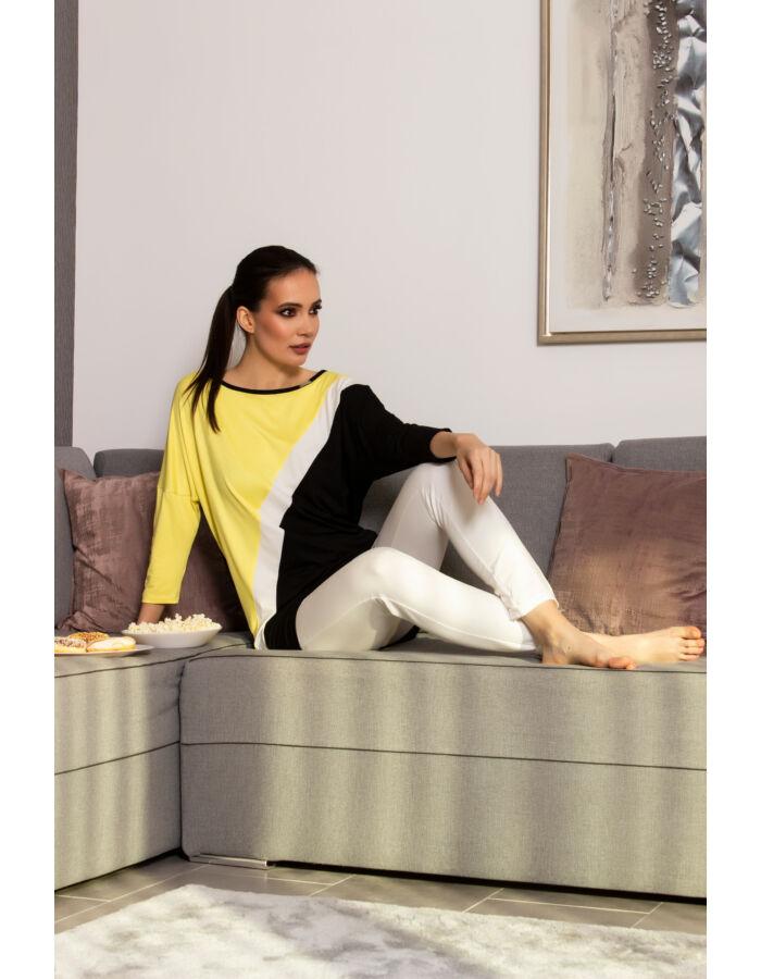 Stefi tunika sárga/fehér/fekete