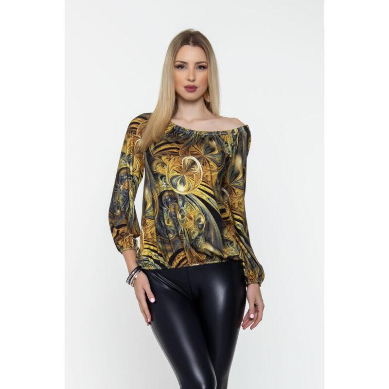 Trixi gumisnyakú blúz - arany tónusos mintás