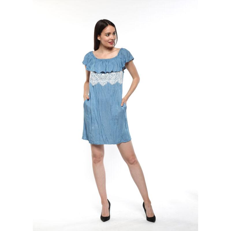 Csipkerátétes fodros ruha - világos farmerkék