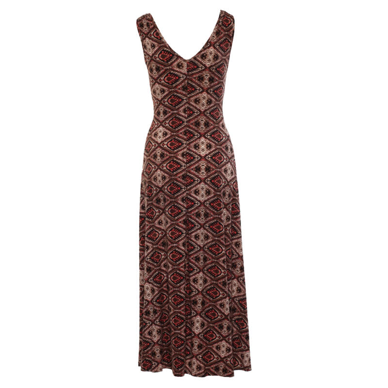 Lágyesésű, csavart dekoltázsú mintás maxi ruha - barna, málna
