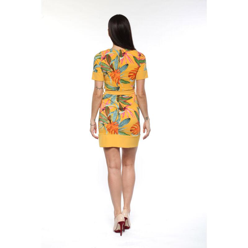 Passzés szegélyű, dzsungel mintás ruha - sárga alap